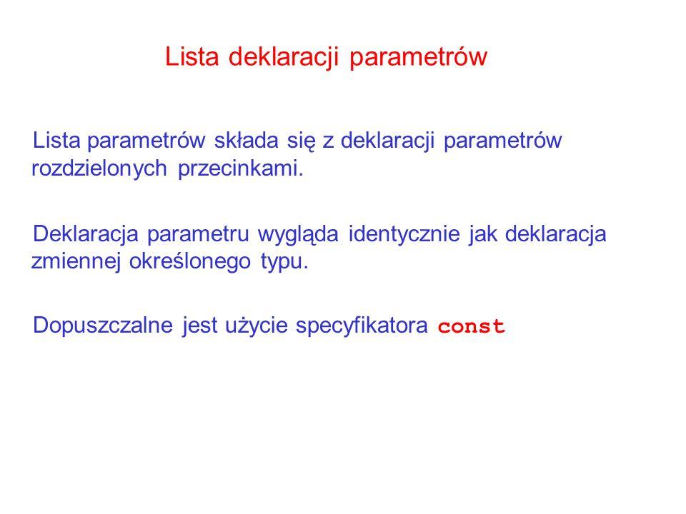 Lista deklaracji parametrów Lista parametrów składa się z deklaracji parametrów rozdzielonych przecinkami. Deklaracja parametru wygląda identycznie ja