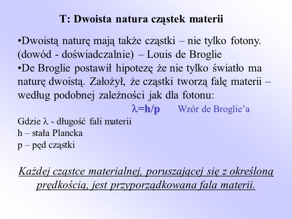 T: Dwoista natura cząstek materii Dwoistą naturę mają także cząstki – nie tylko fotony. (dowód - doświadczalnie) – Louis de Broglie De Broglie postawi