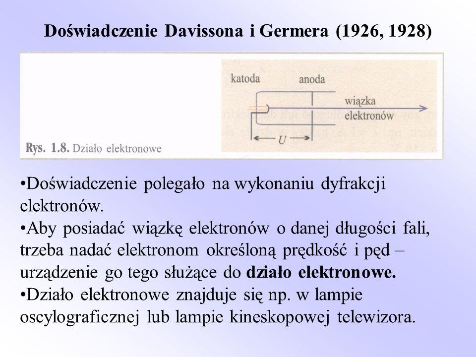 Doświadczenie Davissona i Germera (1926, 1928) Doświadczenie polegało na wykonaniu dyfrakcji elektronów. Aby posiadać wiązkę elektronów o danej długoś