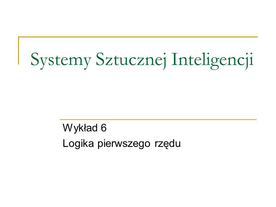 Systemy Sztucznej Inteligencji Wykład 6 Logika pierwszego rzędu