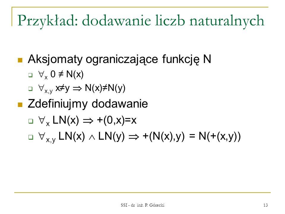 Przykład: dodawanie liczb naturalnych Aksjomaty ograniczające funkcję N x 0 N(x) x,y xy N(x)N(y) Zdefiniujmy dodawanie x LN(x) +(0,x)=x x,y LN(x) LN(y
