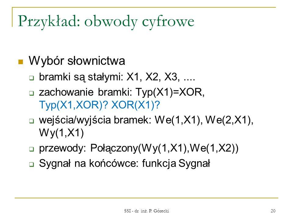 Przykład: obwody cyfrowe Wybór słownictwa bramki są stałymi: X1, X2, X3,.... zachowanie bramki: Typ(X1)=XOR, Typ(X1,XOR)? XOR(X1)? wejścia/wyjścia bra