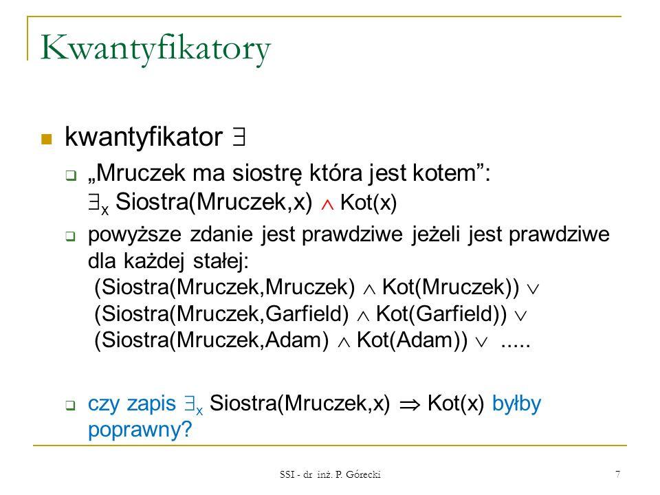 Kwantyfikatory kwantyfikator Mruczek ma siostrę która jest kotem: x Siostra(Mruczek,x) Kot(x) powyższe zdanie jest prawdziwe jeżeli jest prawdziwe dla