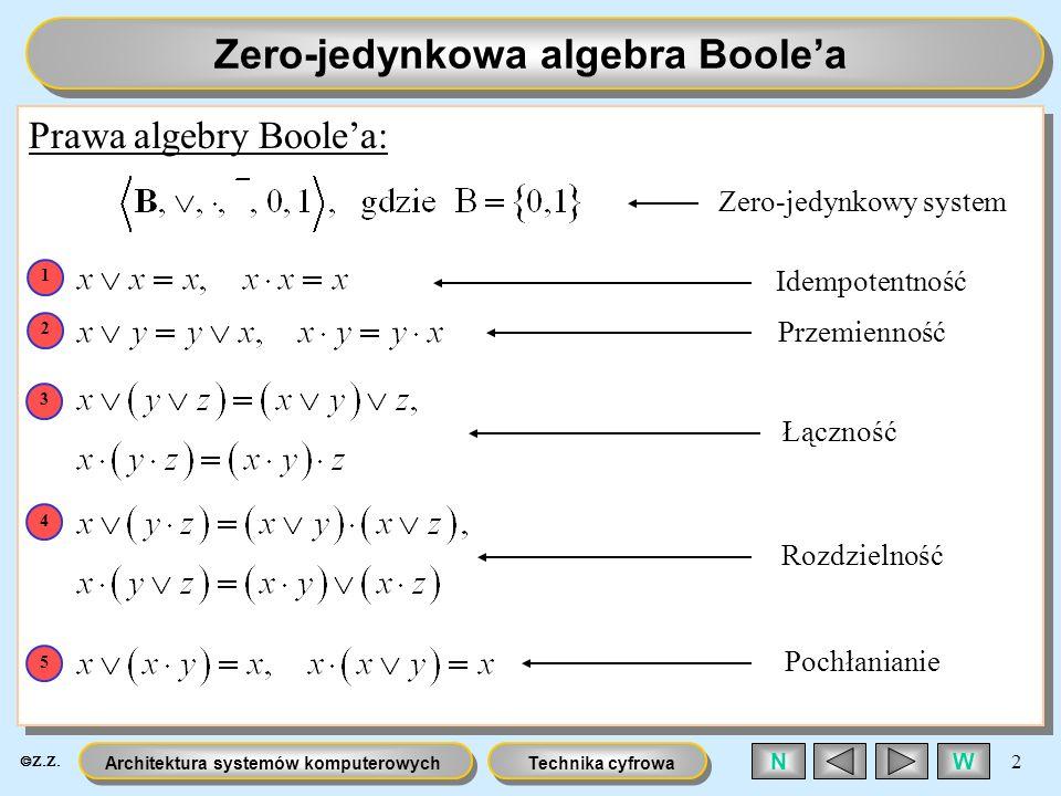 Technika cyfrowaArchitektura systemów komputerowych 2 WN Zero-jedynkowa algebra Boolea Prawa algebry Boolea: Zero-jedynkowy system Idempotentność Prze