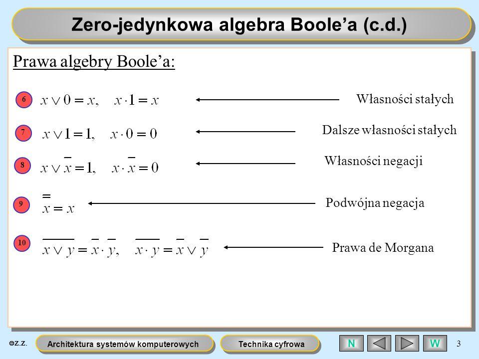 Technika cyfrowaArchitektura systemów komputerowych 3 WN Zero-jedynkowa algebra Boolea (c.d.) Prawa algebry Boolea: Własności stałych 6 Dalsze własnoś