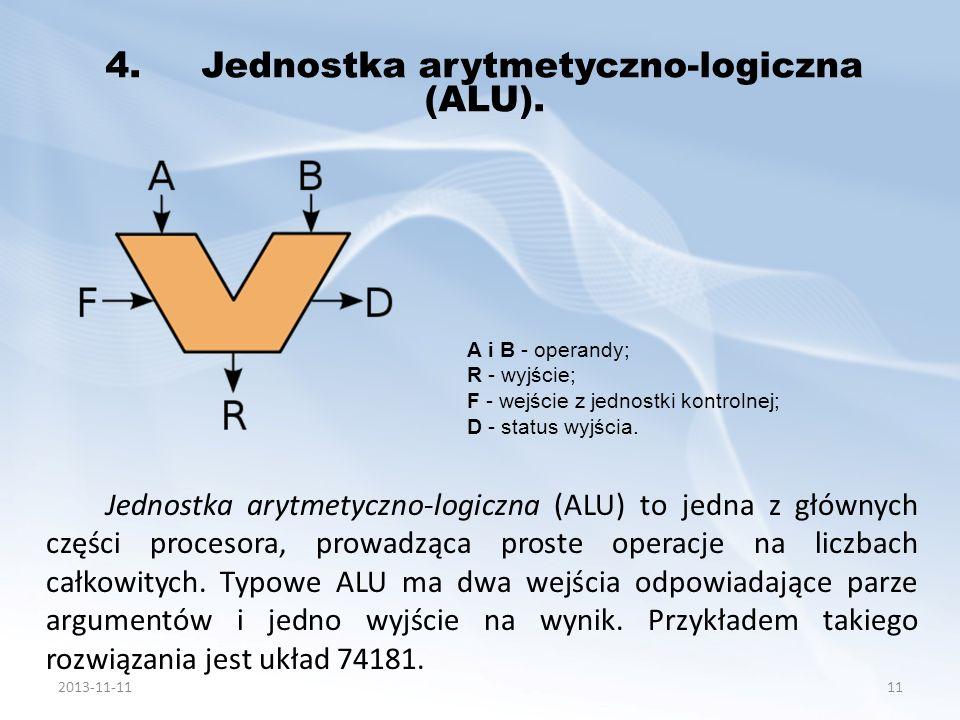Jednostka arytmetyczno-logiczna (ALU) to jedna z głównych części procesora, prowadząca proste operacje na liczbach całkowitych. Typowe ALU ma dwa wejś