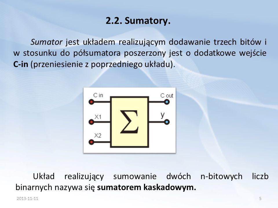 Sumator jest układem realizującym dodawanie trzech bitów i w stosunku do półsumatora poszerzony jest o dodatkowe wejście C-in (przeniesienie z poprzed