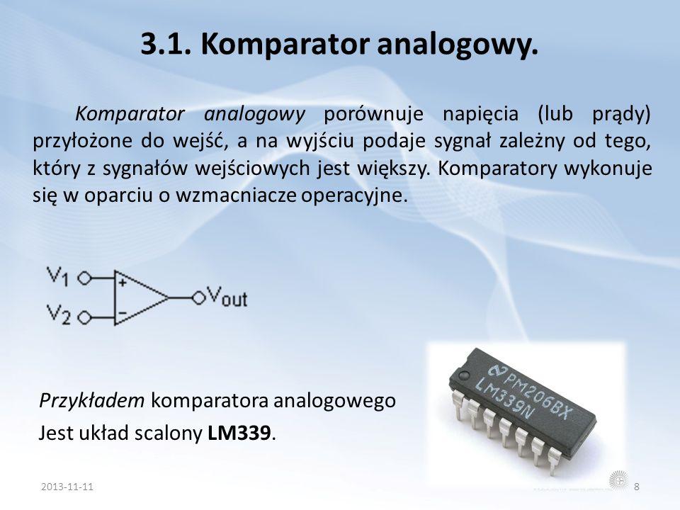 3.1. Komparator analogowy. Komparator analogowy porównuje napięcia (lub prądy) przyłożone do wejść, a na wyjściu podaje sygnał zależny od tego, który