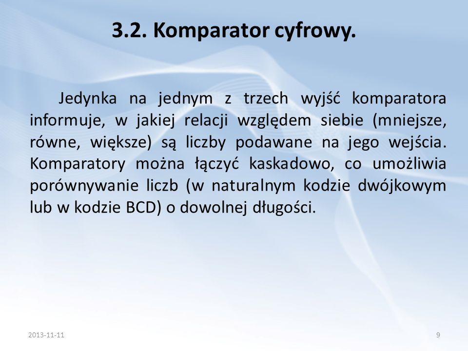 Porównanie słów wielobitowych będzie polegało na zastosowaniu odpowiedniej liczby komparatorów jednobitowych.