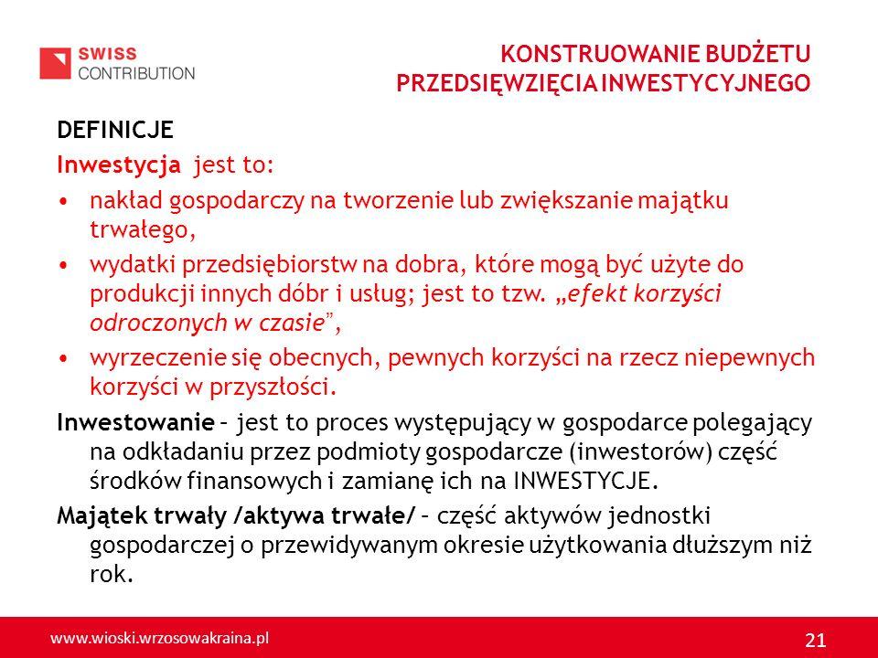 www.wioski.wrzosowakraina.pl 21 DEFINICJE Inwestycja jest to: nakład gospodarczy na tworzenie lub zwiększanie majątku trwałego, wydatki przedsiębiorst
