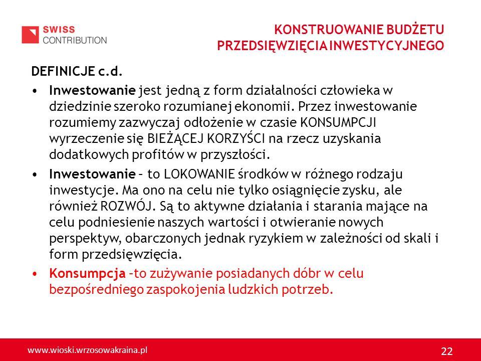 www.wioski.wrzosowakraina.pl 22 DEFINICJE c.d. Inwestowanie jest jedną z form działalności człowieka w dziedzinie szeroko rozumianej ekonomii. Przez i