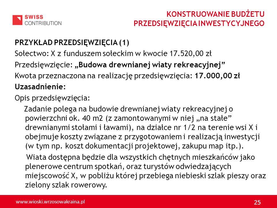 www.wioski.wrzosowakraina.pl 25 PRZYKŁAD PRZEDSIĘWZIĘCIA (1) Sołectwo: X z funduszem sołeckim w kwocie 17.520,00 zł Przedsięwzięcie: Budowa drewnianej