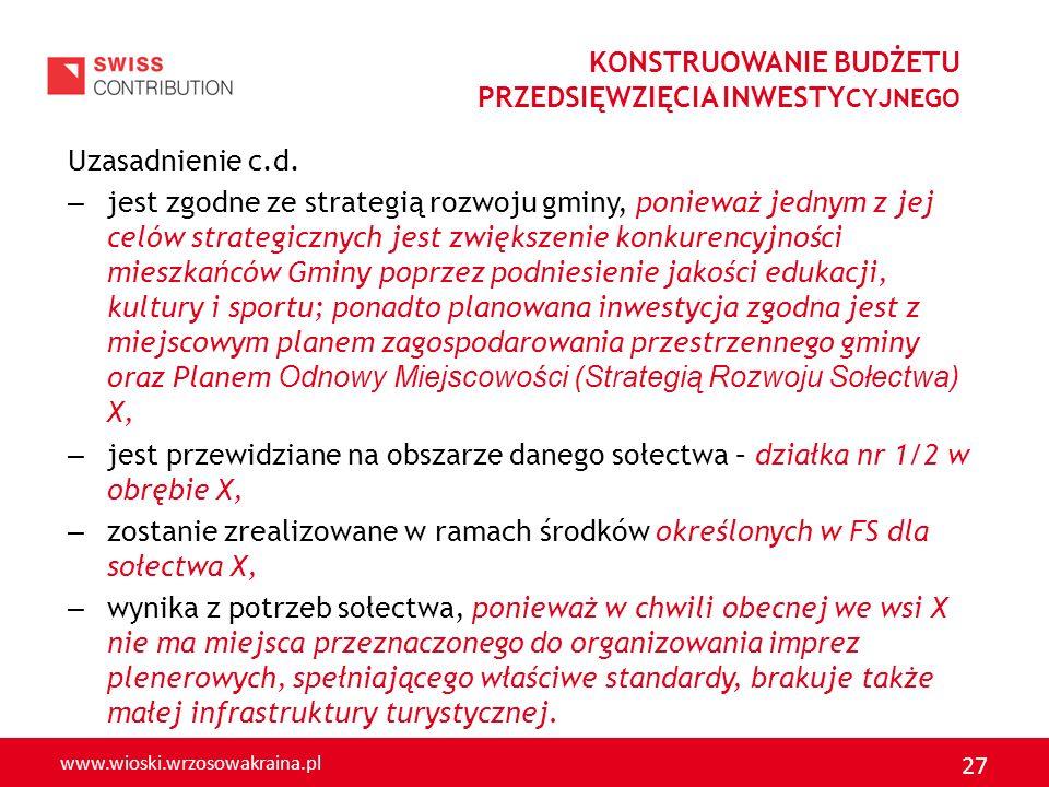 www.wioski.wrzosowakraina.pl 27 Uzasadnienie c.d. – jest zgodne ze strategią rozwoju gminy, ponieważ jednym z jej celów strategicznych jest zwiększeni