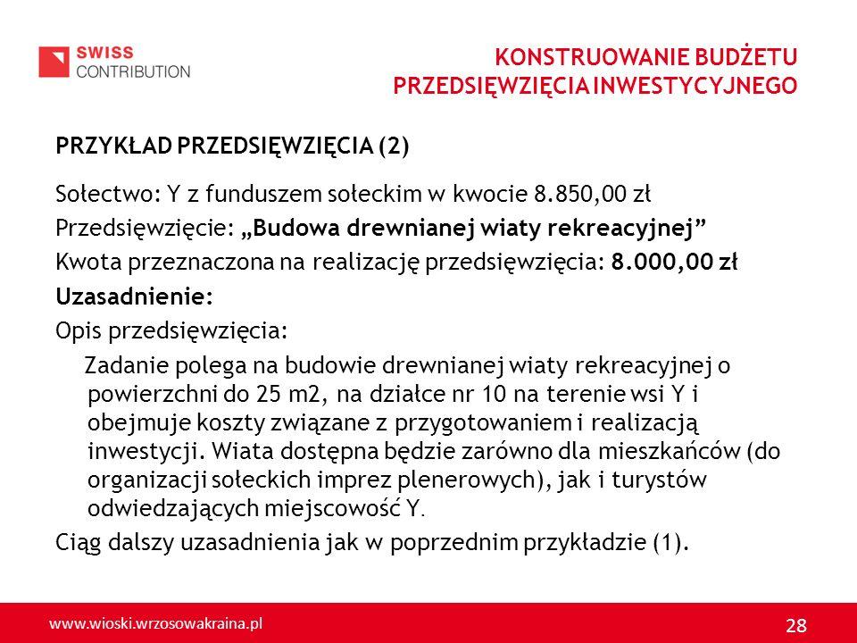 www.wioski.wrzosowakraina.pl 28 PRZYKŁAD PRZEDSIĘWZIĘCIA (2) Sołectwo: Y z funduszem sołeckim w kwocie 8.850,00 zł Przedsięwzięcie: Budowa drewnianej