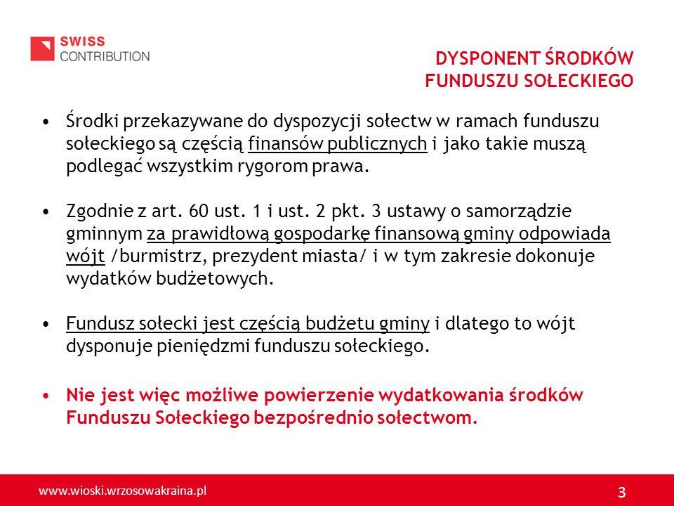 www.wioski.wrzosowakraina.pl 3 DYSPONENT ŚRODKÓW FUNDUSZU SOŁECKIEGO Środki przekazywane do dyspozycji sołectw w ramach funduszu sołeckiego są częścią