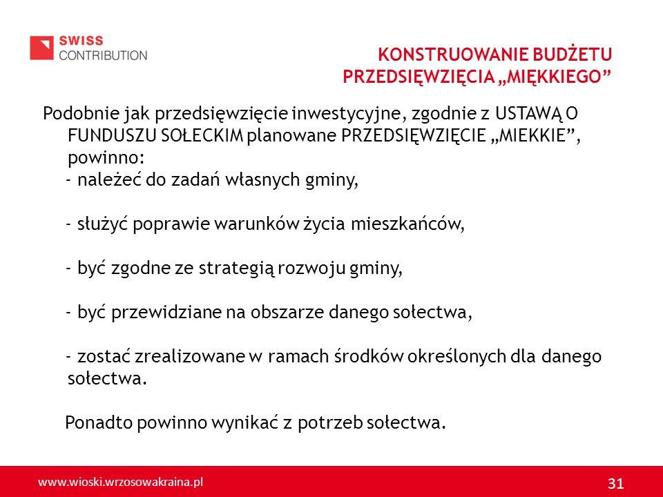 www.wioski.wrzosowakraina.pl 31 Podobnie jak przedsięwzięcie inwestycyjne, zgodnie z USTAWĄ O FUNDUSZU SOŁECKIM planowane PRZEDSIĘWZIĘCIE MIEKKIE, pow