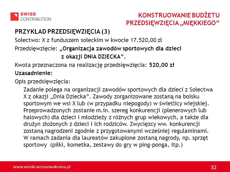 www.wioski.wrzosowakraina.pl 32 PRZYKŁAD PRZEDSIĘWZIĘCIA (3) Sołectwo: X z funduszem sołeckim w kwocie 17.520,00 zł Przedsięwzięcie: Organizacja zawod
