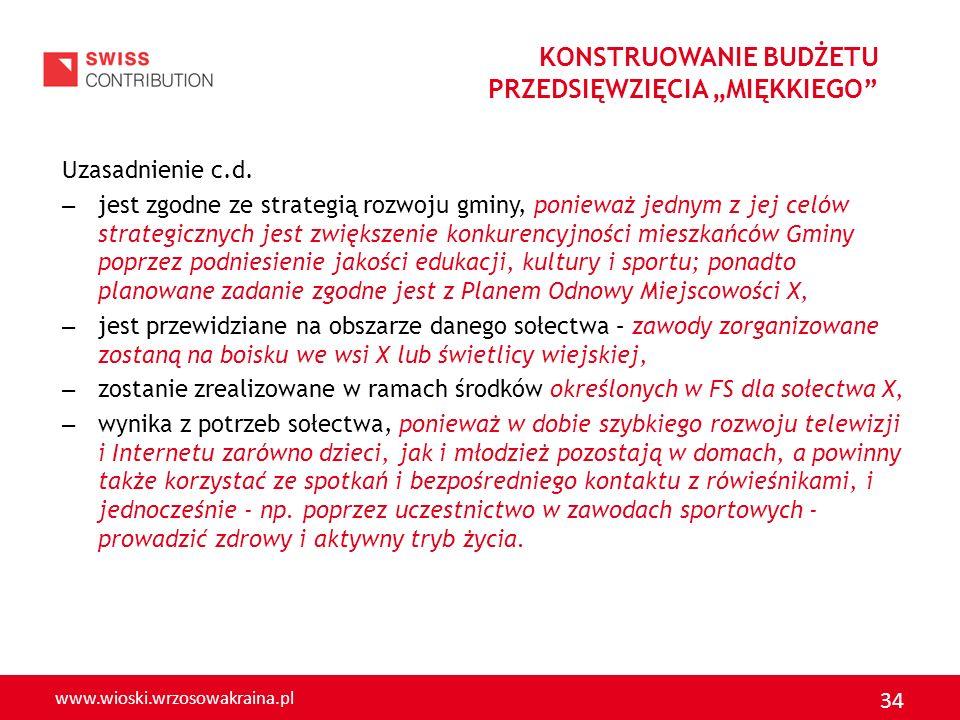 www.wioski.wrzosowakraina.pl 34 Uzasadnienie c.d. – jest zgodne ze strategią rozwoju gminy, ponieważ jednym z jej celów strategicznych jest zwiększeni