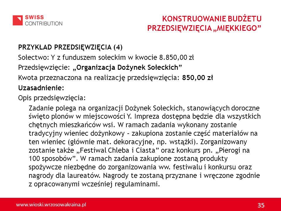 www.wioski.wrzosowakraina.pl 35 PRZYKŁAD PRZEDSIĘWZIĘCIA (4) Sołectwo: Y z funduszem sołeckim w kwocie 8.850,00 zł Przedsięwzięcie: Organizacja Dożyne