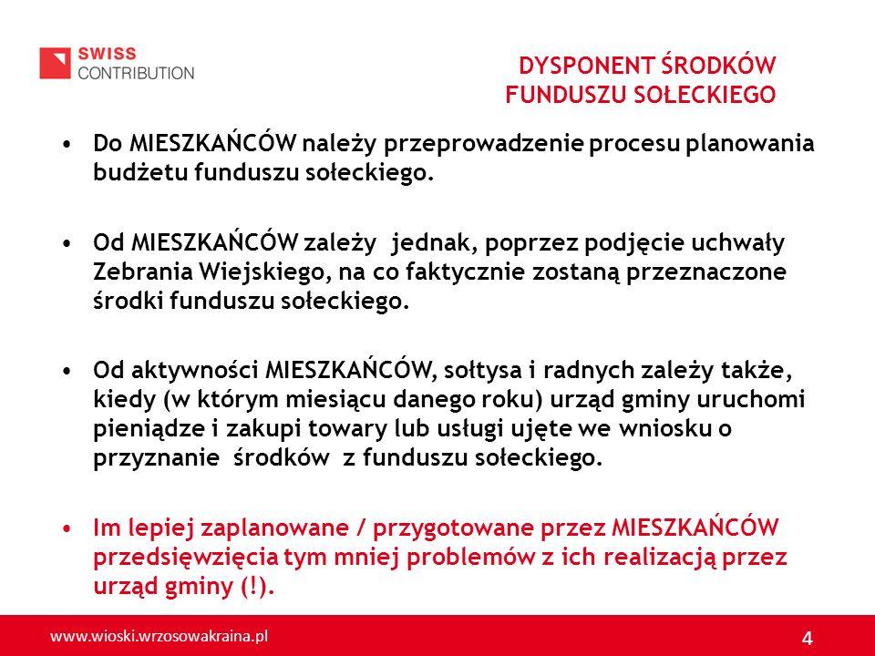 www.wioski.wrzosowakraina.pl 4 Do MIESZKAŃCÓW należy przeprowadzenie procesu planowania budżetu funduszu sołeckiego. Od MIESZKAŃCÓW zależy jednak, pop