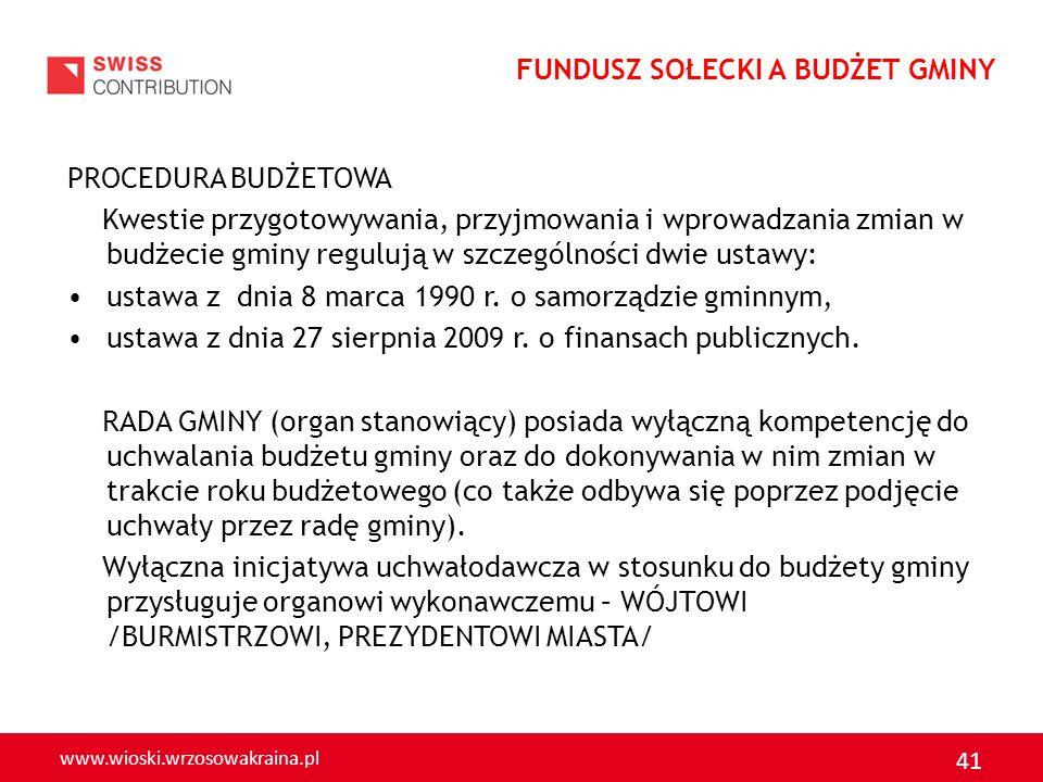 www.wioski.wrzosowakraina.pl 41 PROCEDURA BUDŻETOWA Kwestie przygotowywania, przyjmowania i wprowadzania zmian w budżecie gminy regulują w szczególnoś