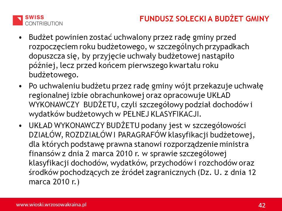 www.wioski.wrzosowakraina.pl 42 Budżet powinien zostać uchwalony przez radę gminy przed rozpoczęciem roku budżetowego, w szczególnych przypadkach dopu