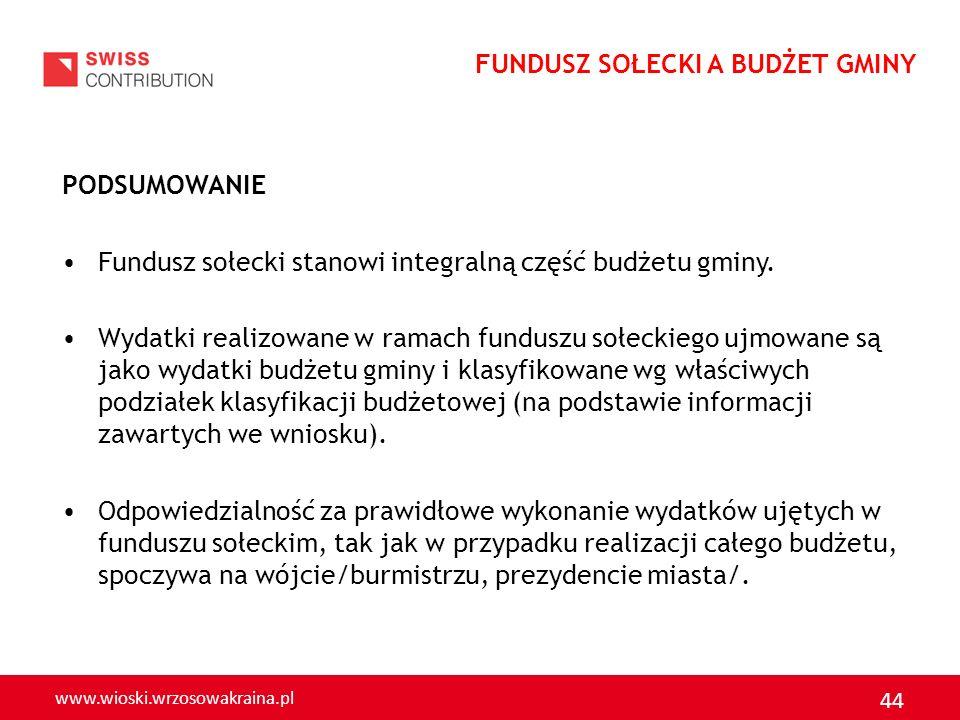 www.wioski.wrzosowakraina.pl 44 PODSUMOWANIE Fundusz sołecki stanowi integralną część budżetu gminy. Wydatki realizowane w ramach funduszu sołeckiego