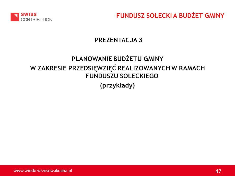 www.wioski.wrzosowakraina.pl 47 PREZENTACJA 3 PLANOWANIE BUDŻETU GMINY W ZAKRESIE PRZEDSIĘWZIĘĆ REALIZOWANYCH W RAMACH FUNDUSZU SOŁECKIEGO (przykłady)