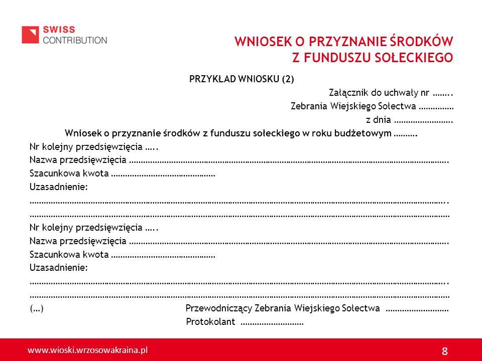 www.wioski.wrzosowakraina.pl 9 To co powinien zawierać wniosek o przyznanie środków z funduszu sołeckiego określa art.