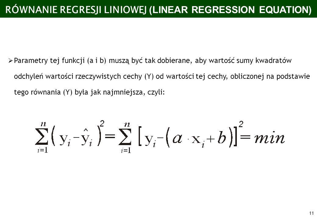 11 RÓWNANIE REGRESJI LINIOWEJ (LINEAR REGRESSION EQUATION) Parametry tej funkcji (a i b) muszą być tak dobierane, aby wartość sumy kwadratów odchyleń