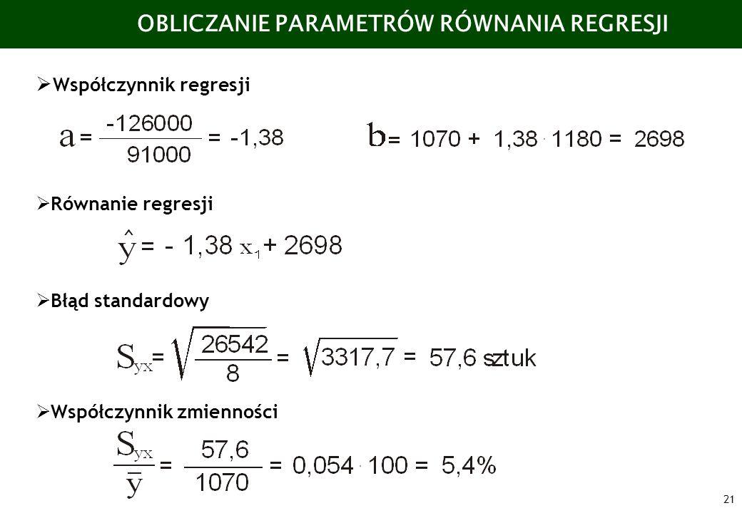 21 OBLICZANIE PARAMETRÓW RÓWNANIA REGRESJI Współczynnik regresji Równanie regresji Błąd standardowy Współczynnik zmienności