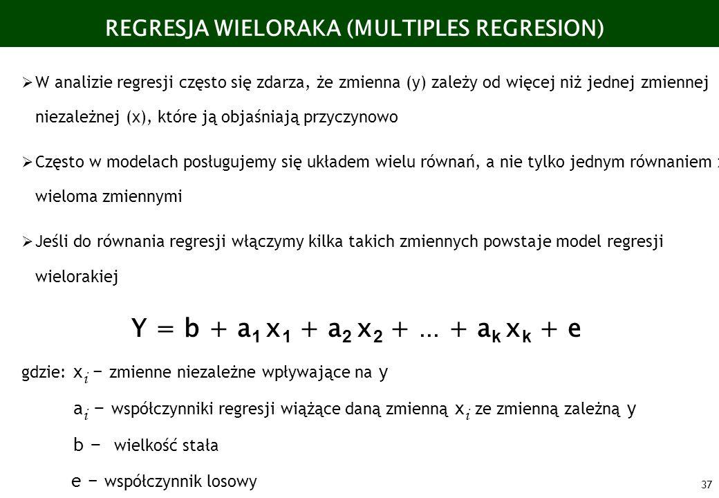 37 W analizie regresji często się zdarza, że zmienna (y) zależy od więcej niż jednej zmiennej niezależnej (x), które ją objaśniają przyczynowo Często