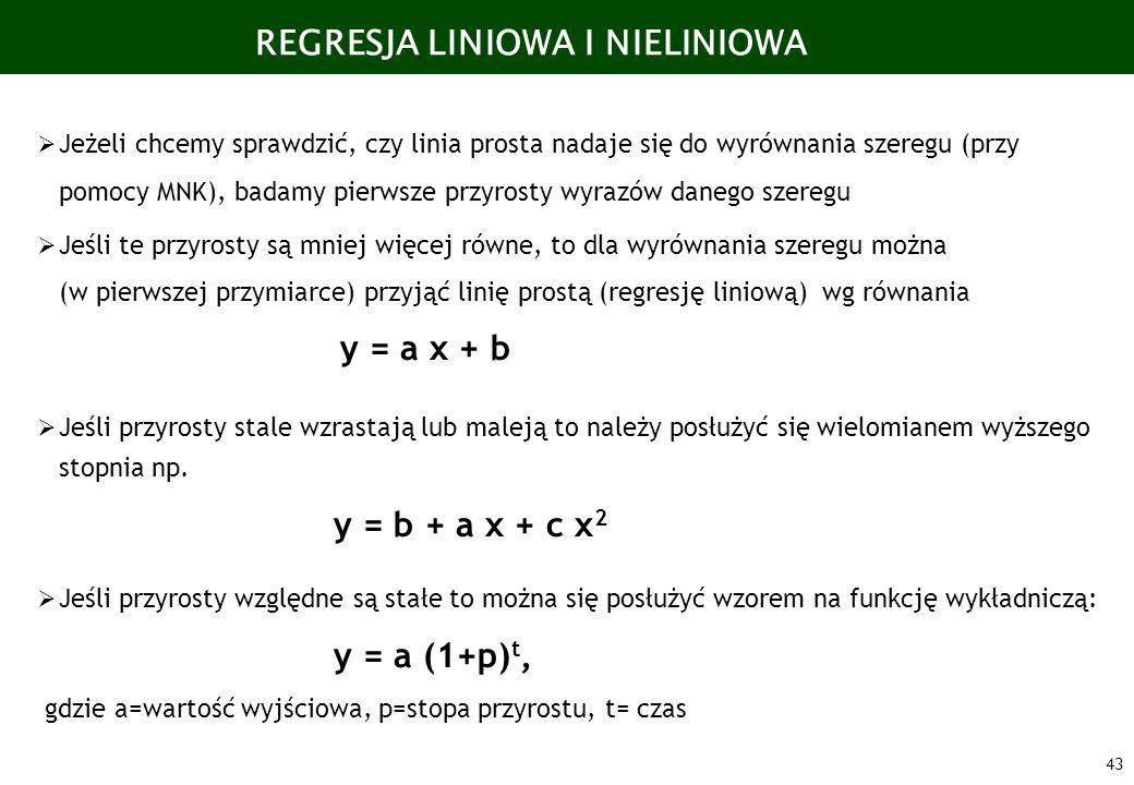 43 REGRESJA LINIOWA I NIELINIOWA Jeżeli chcemy sprawdzić, czy linia prosta nadaje się do wyrównania szeregu (przy pomocy MNK), badamy pierwsze przyros