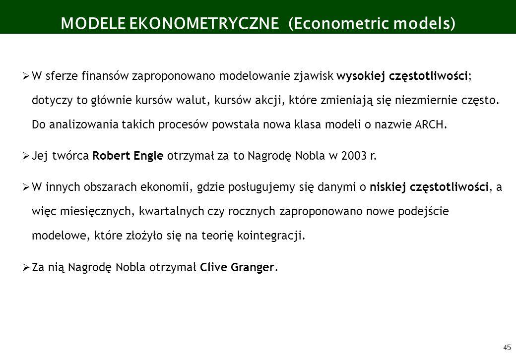 45 MODELE EKONOMETRYCZNE (Econometric models) W sferze finansów zaproponowano modelowanie zjawisk wysokiej częstotliwości; dotyczy to głównie kursów w