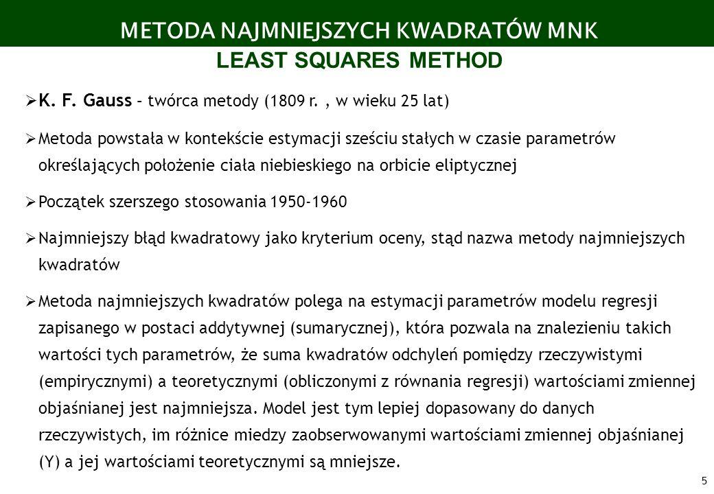 5 METODA NAJMNIEJSZYCH KWADRATÓW MNK LEAST SQUARES METHOD K. F. Gauss – twórca metody (1809 r., w wieku 25 lat) Metoda powstała w kontekście estymacji