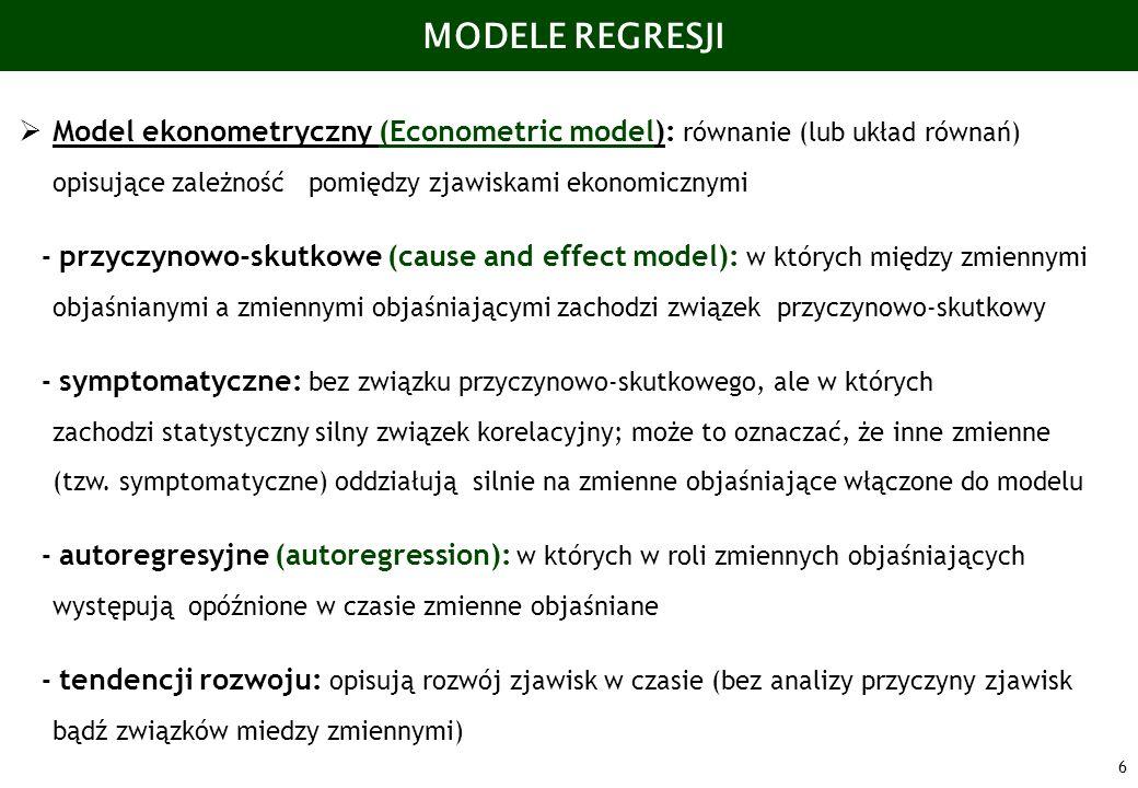 6 MODELE REGRESJI Model ekonometryczny (Econometric model): równanie (lub układ równań) opisujące zależność pomiędzy zjawiskami ekonomicznymi - przycz