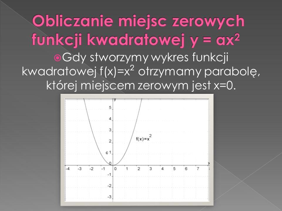 Gdy stworzymy wykres funkcji kwadratowej f(x)=x 2 otrzymamy parabolę, której miejscem zerowym jest x=0.
