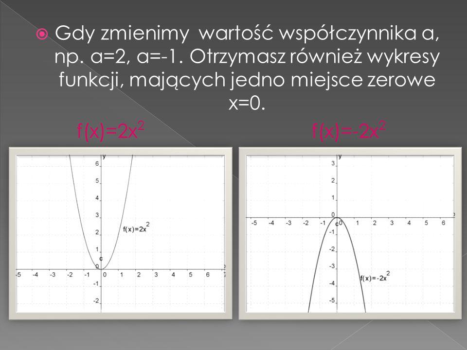Gdy zmienimy wartość współczynnika a, np. a=2, a=-1. Otrzymasz również wykresy funkcji, mających jedno miejsce zerowe x=0. f(x)=2x 2 f(x)=-2x 2