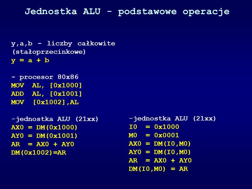 Jednostka ALU - podstawowe operacje y,a,b - liczby całkowite (stałoprzecinkowe) y = a + b - procesor 80x86 MOV AL, [0x1000] ADD AL, [0x1001] MOV [0x10