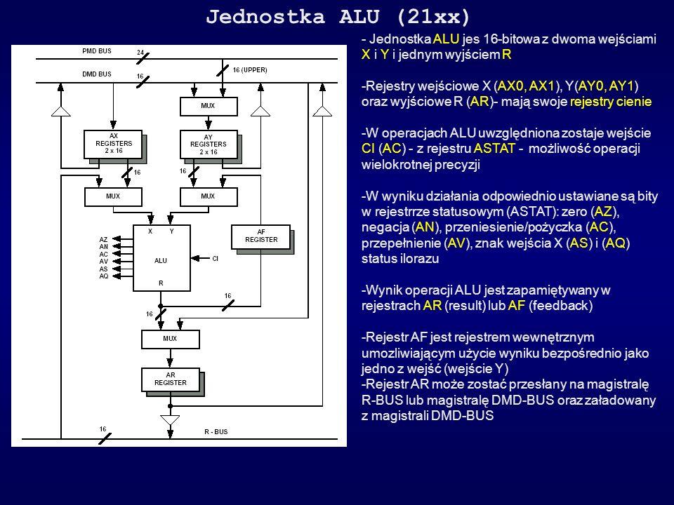 Jednostka ALU (21xx) - Jednostka ALU jes 16-bitowa z dwoma wejściami X i Y i jednym wyjściem R -Rejestry wejściowe X (AX0, AX1), Y(AY0, AY1) oraz wyjś
