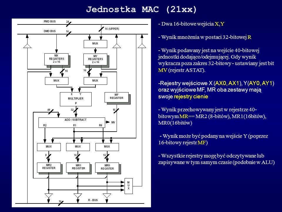 Jednostka MAC (21xx) - Dwa 16-bitowe wejścia X,Y - Wynik mnożenia w postaci 32-bitowej R - Wynik podawany jest na wejście 40-bitowej jednostki dodając