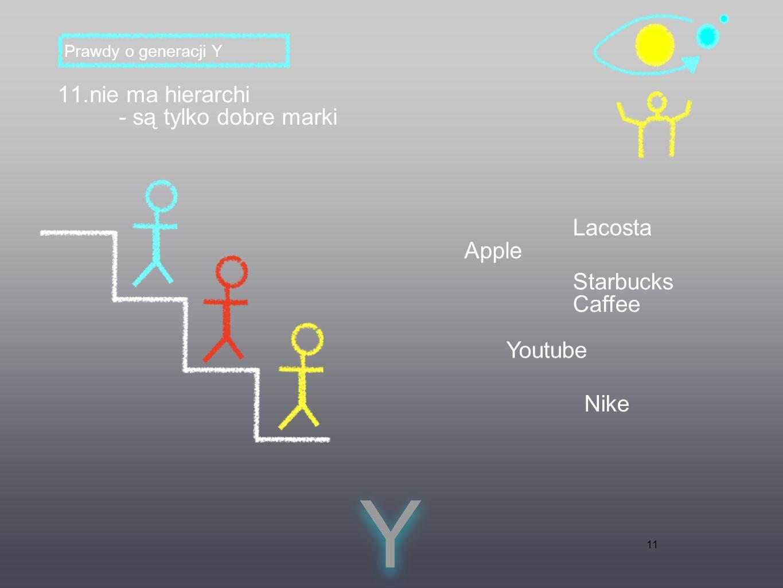 11 11.nie ma hierarchi - są tylko dobre marki Y Y Prawdy o generacji Y Apple Lacosta Starbucks Caffee Youtube Nike