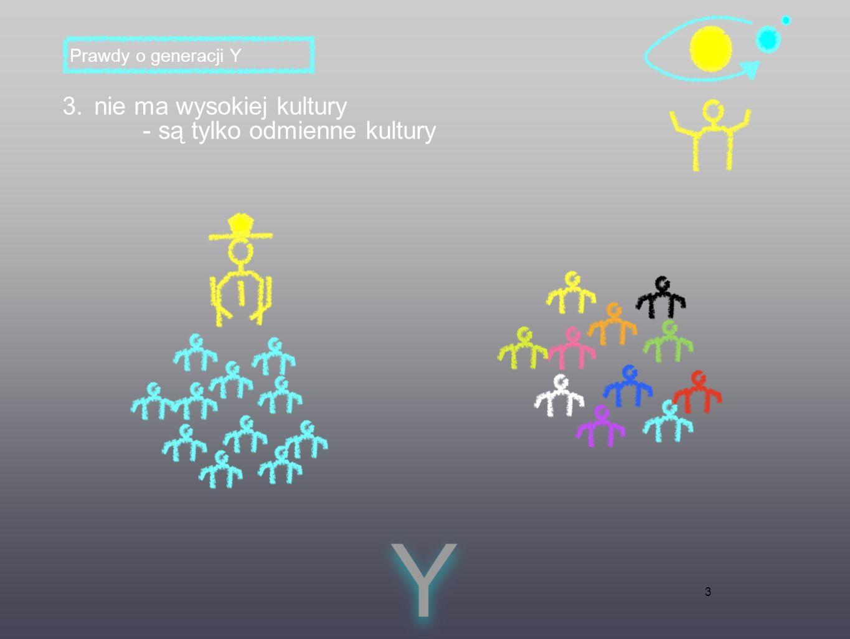 3 3. nie ma wysokiej kultury - są tylko odmienne kultury Y Y Prawdy o generacji Y