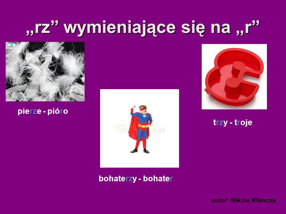 rz wymieniające się na r pierze - pióro bohaterzy - bohater trzy - troje autor: Nikola Klimcza