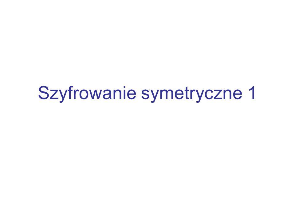 Techniki transpozycyjne Bardziej skomplikowany system polega na zapisaniu komunikatu w prostokącie, a następnie odczytanie ze zmianą kolejności kolumn Klucz : 3 1 4 2 7 6 5 tekst jawny : b a r d z i e j s k o m p l i k o w a n y s y s t e m p o l e g a n a tekst zaszyfrowany: ASKYLDOWTGBJISORKOSEELYPAIPNMNZMAEA Szyfr transpozycyjny można uczynić znaczenie bezpieczniejszym poprzez stosowanie kilku etapów transpozycji, co utrudnia znacznie rekonstrukcję klucza