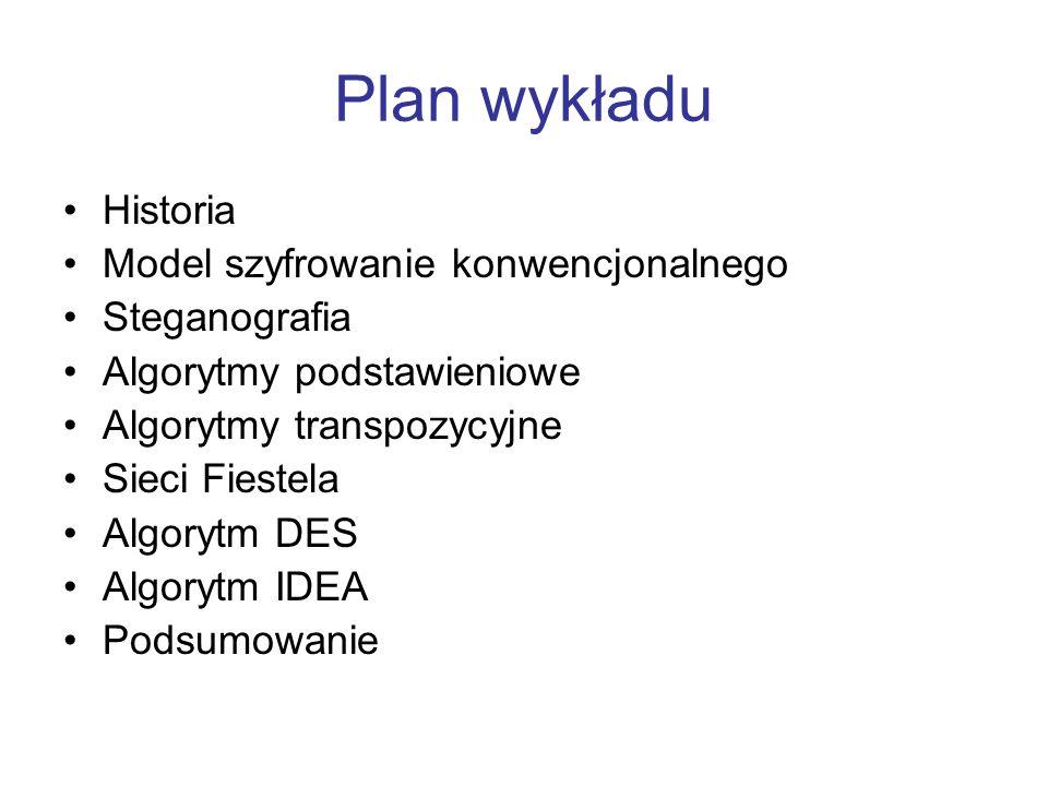 Plan wykładu Historia Model szyfrowanie konwencjonalnego Steganografia Algorytmy podstawieniowe Algorytmy transpozycyjne Sieci Fiestela Algorytm DES Algorytm IDEA Podsumowanie