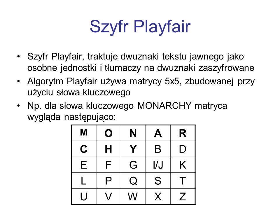 Szyfr Playfair Szyfr Playfair, traktuje dwuznaki tekstu jawnego jako osobne jednostki i tłumaczy na dwuznaki zaszyfrowane Algorytm Playfair używa matr