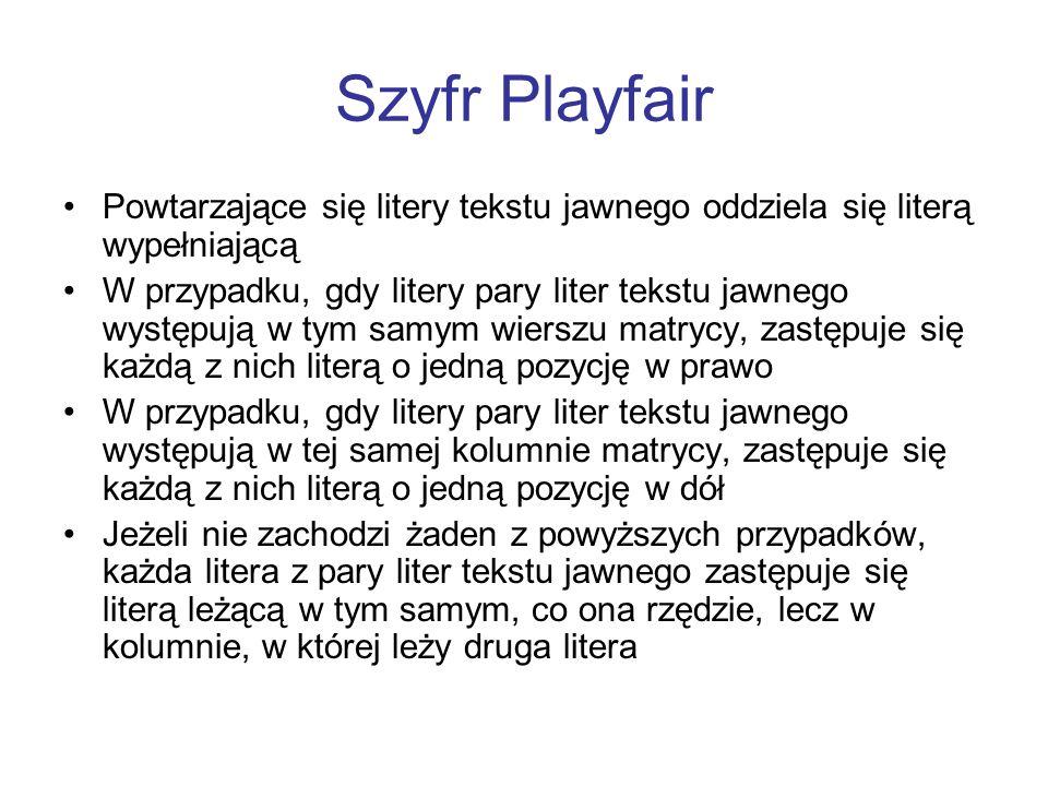 Szyfr Playfair Powtarzające się litery tekstu jawnego oddziela się literą wypełniającą W przypadku, gdy litery pary liter tekstu jawnego występują w t