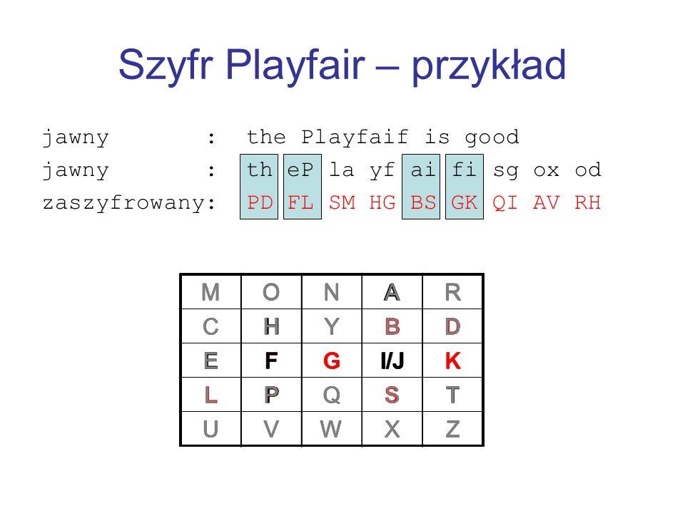 Szyfr Playfair – przykład jawny : the Playfaif is good jawny : th eP la yf ai fi sg ox od zaszyfrowany: PD FL SM HG BS GK QI AV RH MONAR CHYBD EFGI/JK