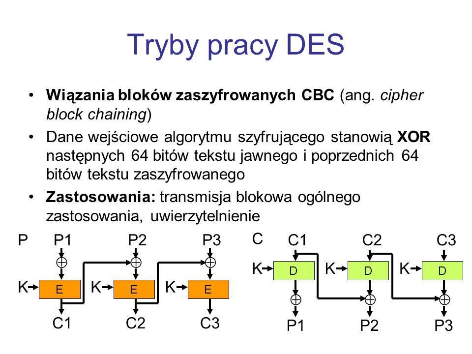 Tryby pracy DES Wiązania bloków zaszyfrowanych CBC (ang. cipher block chaining) Dane wejściowe algorytmu szyfrującego stanowią XOR następnych 64 bitów